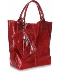 Genuine Leather Kožená kabelka Shopper bag Lak červená