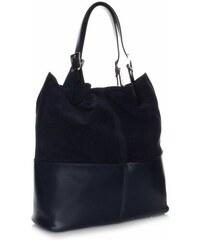 Genuine Leather Kožená kabelka exkluzivní Shopper bag Tmavě modrá