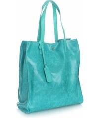 Vera Pelle Kožená kabelka Shopper Bags kosmetickou kapsičkou tyrkys