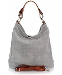 Genuine Leather Univerzální kožená italská kabelka ažurová Světle šedá f313655c9af