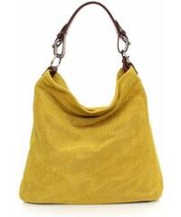 Genuine Leather Univerzální kožená italská kabelka ažurová Žlutá