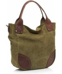 Genuine Leather Univerzální kožená italská kabelka na každý den zelená
