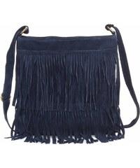 Genuine Leather Kožené kabelky listonošky přírodní semiš Tmavě modrá