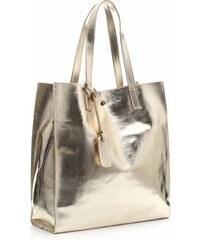 Vera Pelle Kožená kabelka Shopper Bags kosmetickou kapsičkou Gold