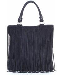 Genuine Leather Módní kožená kabelka přírodní semiš Tmavě modrá