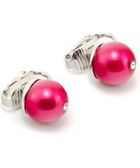 JewelsHall Klipsové náušnice s perličkou a kamínkem - vínové