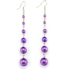 JewelsHall Visací náušnice dlouhé perlové - fialové