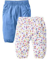 bpc bonprix collection Lot de 2 pantalons sarouel bébé en coton bio, T. 56/62-104/110 bleu enfant - bonprix