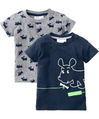 bpc bonprix collection Lot de 2 T-shirts bébé en coton bio, T. 56/62-104/110 gris manches courtes enfant - bonprix