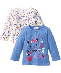 bpc bonprix collection Lot de 2 T-shirts bébé à manches longues en coton bio, T. 56/62-104/110 bleu enfant - bonprix