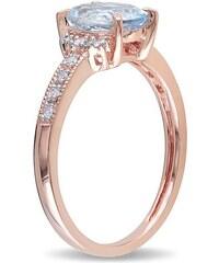 KLENOTA Pozlacený prsten s akvamarínem a diamanty