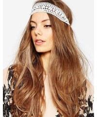 ASOS - Gehäkeltes Haarband mit Kunstperlen - Cremeweiß