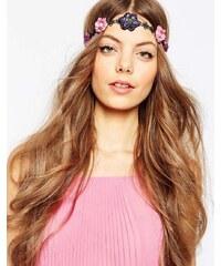 ASOS - Haarband mit gehäkelten Blumen und Pailletten - Mehrfarbig