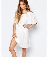Navy London - Angel - Gesmoktes Kleid mit Spitzenausschnitt - Weiß