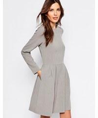 Selected - Trina - Robe manches longues à jupe plissée - Gris