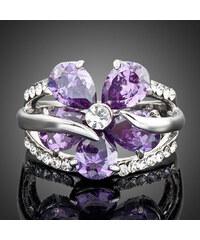 Lesara Zirkonia-Ring Blume weißvergoldet - Violett - 59