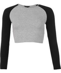Triko Essentials and Rags Essentials Raglan Crop Top dámské Black/Grey