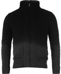 mikina Firetrap 2 Zip Knitted Cardigan Charcoal/Black