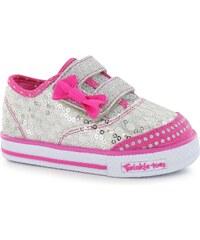 Skechers Twinkle Toes Pre School Infants Trainers Silver/Hot Pink