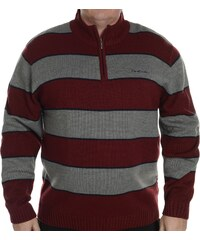 mikina Pierre Cardin Extra Large Quarter Zip Stripe Jumper pánská Burg/Grey M