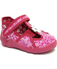 Ren But Dětské bačkůrky na suchý zip s růžovou krajkou a kytičkou