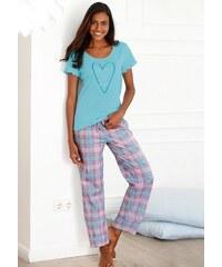 Petite Fleur Pyjama mit karierter Hose & T-Shirt mit Herzprint