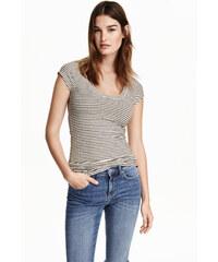 H&M Tričko z žebrovaného žerzeje