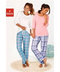 Arizona Karierte Pyjamas (2 Stück) mit passenden Basicshirts rosa 32/34,36/38,40/42,44/46,48/50,52/54,56/58