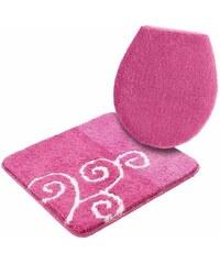 Badematte Hänge WC-Set Victoria Höhe 20 mm rutschhemmender Rücken MY HOME rosa 10 (2-tlg. Hänge-WC-Set cm)
