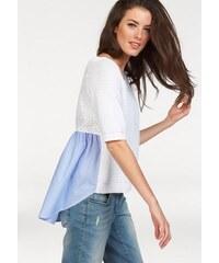 Damen Pullover Kurzarm Rückenteil mit Blusen-Einsatz Aniston weiß 34,36,38,40,42,44
