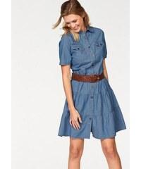 Cheer Damen Jeanskleid mit Volant-Stufen blau 34,36,38,40,42,44,46