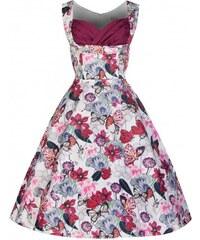 Lindy Bop retro šaty Ophelia fialové s motýlky velikosti: 50