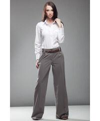 Nife Elegantní mocca zvonové kalhoty