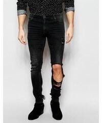 ASOS - Jean super skinny avec larges déchirures - Noir