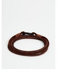 Seven London - Bracelet double tour en cuir - Marron - Marron
