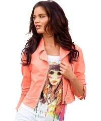 Biker dámská riflová letní bunda Laura Scott 34 oranžová