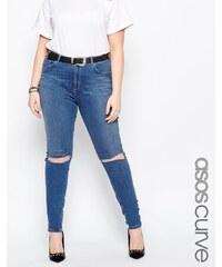 ASOS CURVE - Lisbon - Jean skinny taille mi-haute avec déchirures - Délavage moyen Blessing - Bleu