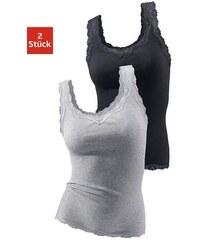 Damen Feinripptops (2 Stück) mit Spitze Cotton made in Africa Vivance Active grau 40/42,44/46,48/50