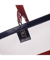 5764e106156 Delami Vera Pelle Dámská kožená kabelka Stripes white - red