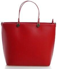 Delami Vera Pelle Červená luxusní kožená velká kabelka Azra