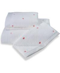 Soft Cotton Malý ručník MICRO LOVE 32x50 cm Bílá / růžové srdíčka