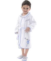 Soft Cotton Dětský župan FOOTBALLER s kapucí v dárkovém balení 2 roky (vel.92 cm) Bílá / modrá výšivka