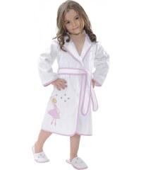 Soft Cotton Dětský župan BALLERINA s kapucí v dárkovém balení 2 roky (vel.92 cm) Bílá / růžová výšivka
