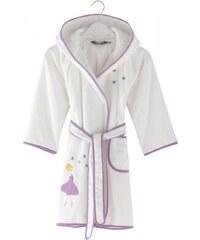 Soft Cotton Dětský župan BALLERINA s kapucí v dárkovém balení 2 roky (vel.92 cm) Bílá / lila výšivka