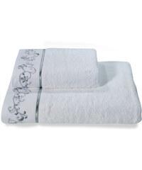 Soft Cotton Malý ručník RENGIN 32x50 cm Bílá / šedá výšivka