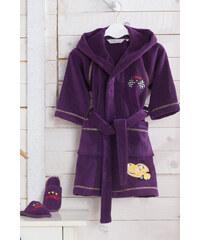 Soft Cotton Dětský župan PILOT v dárkové balení s papučkami 2 roky (vel.92 cm) Tmavě fialová
