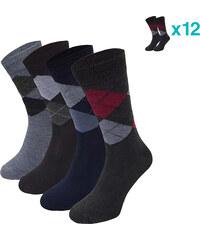Lesara 12er-Set Business-Socken Karo - 39-42