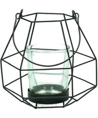 KERSTEN - Lucerna sklo/kov, černá 12x10.5x19.7cm (LEV-8121)