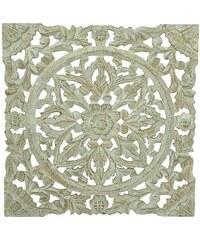 KERSTEN - Nástěnná dekorace MDF, bílá, ruční práce VINTAGE 38x1.6x38cm (LEV-4698)
