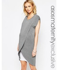 ASOS Maternity - Kleid zum Stillen mit Wickel-Oberlage - Grau